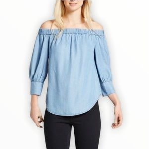 Who What Wear Chambray Off The Shoulder Top